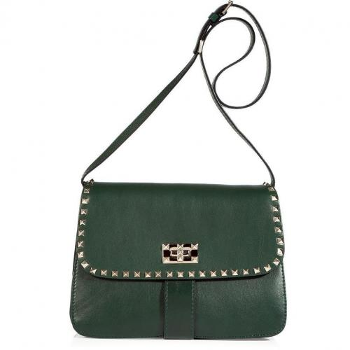 Valentino Royal Green Studded Shoulder Bag
