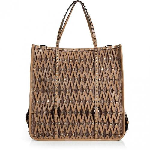 Valentino Sun Tan Studded Mesh Leather Bag