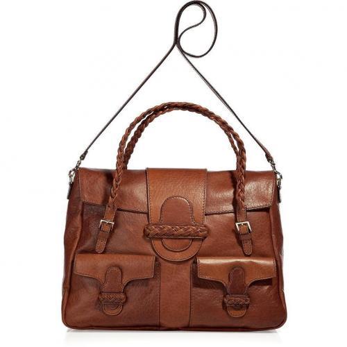 Valentino Toffee Braided Handle Bag