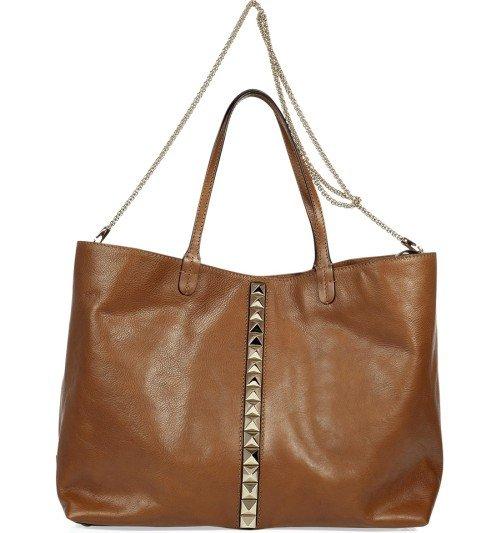 Valentino Cognac Rock Stud Tote Bag