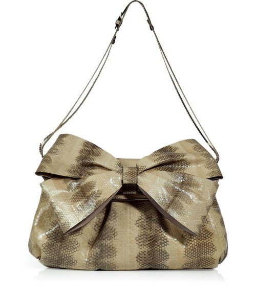 Valentino Natural Beige Python Bag with Big Bow