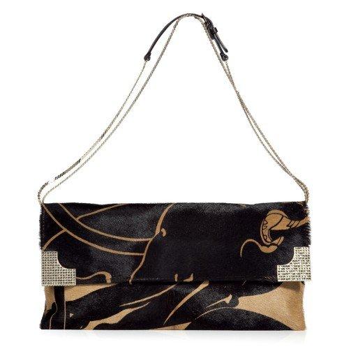 Valentino Schwarze und Camel Calf Hair Clutch Bag