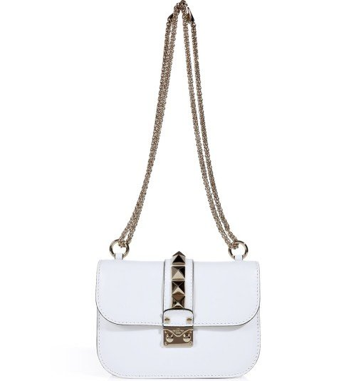 Valentino White Rock Stud Shoulder Bag