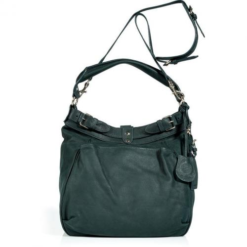 Vanessa Bruno Dark Green Hobo Bag with Shoulder Strap