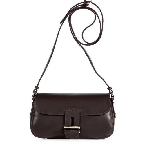 Vanessa Bruno Mocha Leather Petite Shoulder Bag