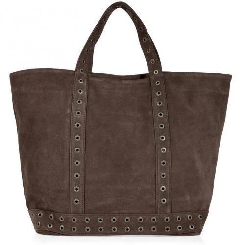 Vanessa Bruno Warm Chocolate Studded Suede Big Cabas Bag