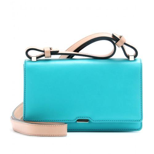 Victoria Beckham Lederschultertasche Blau/Grün