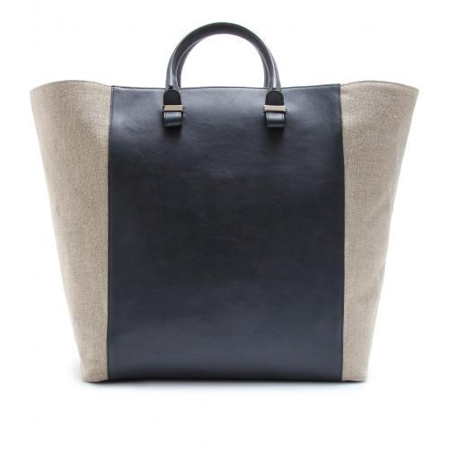 Victoria Beckham Shopper aus Leder und Leinen Blau