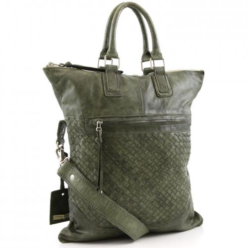 Vive La Difference Day Bag Shopper Leder gruen