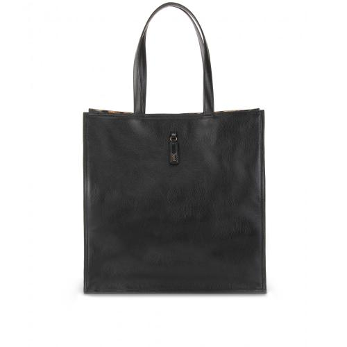 Yves Saint Laurent Leder Shopper Mit Animal-Print Futter Schwarz