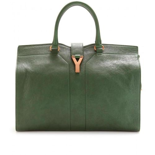 Yves Saint Laurent Large Cabas Chyc East/West Ledertasche Tartan Green