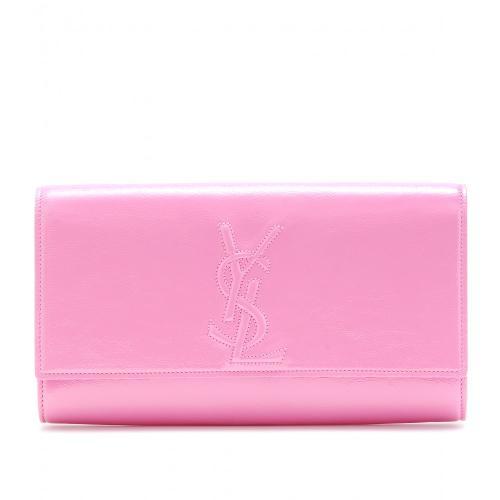 Yves Saint Laurent Belle De Jour Lederclutch Rosa/Violett/Lila