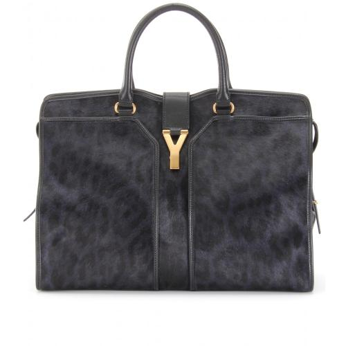 Yves Saint Laurent Cabas Chyc Large East/West Ponyfell Schwarz