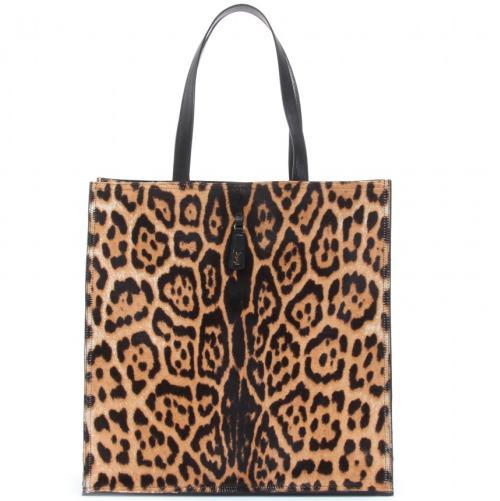 Yves Saint Laurent Ponyfell Shopper mit Animalprint Braun/Beige