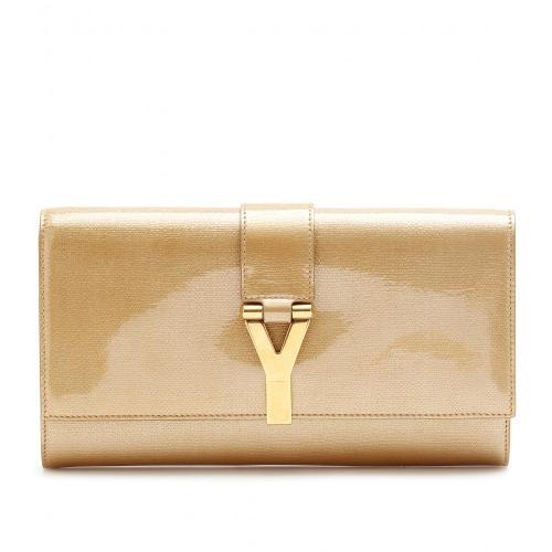 Yves Saint Laurent Lederclutch Mit Signaturschliesse Braun/Beige