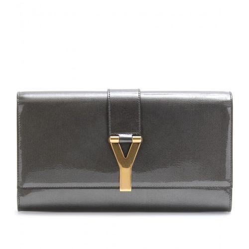 Yves Saint Laurent Clutch Logoverschluss Grau/Metallic