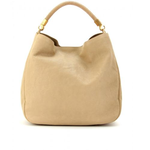 Yves Saint Laurent Roady Ledertasche Braun/Beige