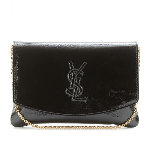 Yves Saint Laurent Clutch Patent Logo aus Lackleder Schwarz