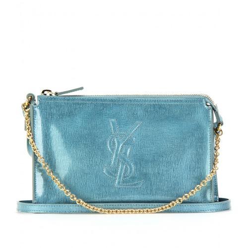 Yves Saint Laurent Schultertasche Aus Beschichtetem Leder Blau/Grün