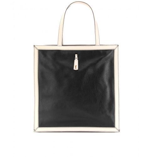 yves saint laurent shopper aus leder schwarz wei. Black Bedroom Furniture Sets. Home Design Ideas
