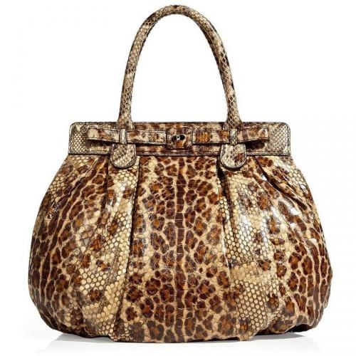 Zagliani Brown Leopard Print Puffy Bag