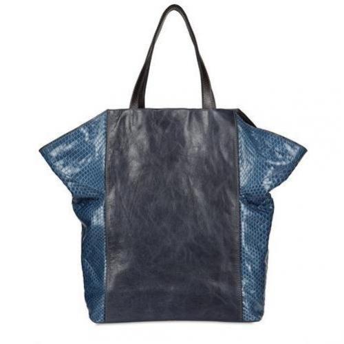 Zagliani - Miku Limitierte Python Shopping Tasche Schwarz Blau