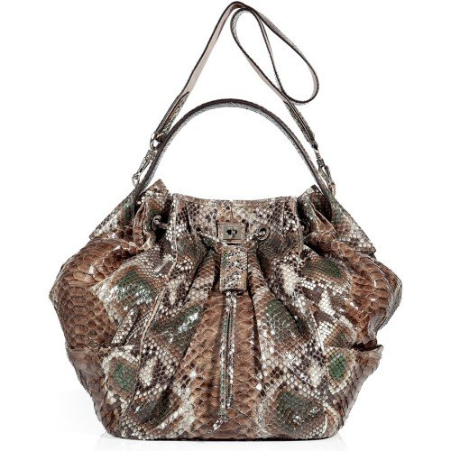 Zagliani Natural Brown Python Schultertasche