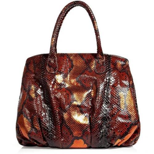 Zagliani Paprika Metallic Python Bag