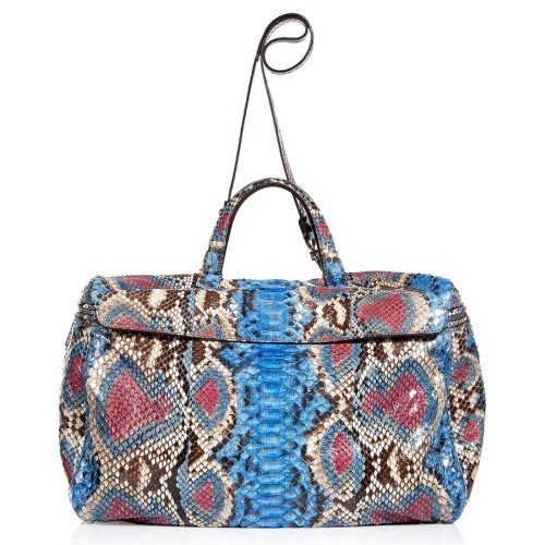 Zagliani Electric Blue Python Tote with Shoulder Strap